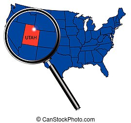 Utah state outline set into a map of The United States of America under a magnifying glass