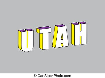 Utah text with 3d isometric effect
