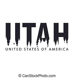 Utah. USA. United States of America. Text or labels with silhouette of forest.