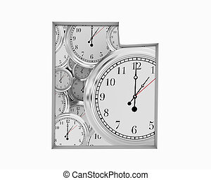 Utah UT Clock Time Passing Forward Future 3d Illustration