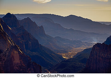 utah, zion, beobachtung punkt, nationalpark, tal, landschaftsbild, ansicht
