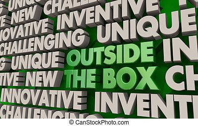 utanför, boxas, färsk, tänkande, idéer, ord, 3, illustration