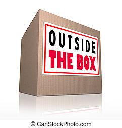 utanför, boxas, innovativ, okonventionell, kreativt tänkande