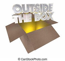 utanför, boxas, tänkande, öppning, papp, kolli, 3, illustration