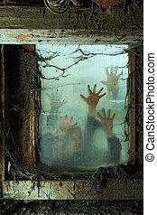 utanför, fönster, zombies