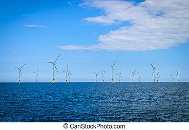 utanför kusten, slingra turbin, in, a, windfarm,...