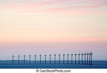 utanför kusten, vind lantgård
