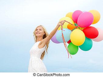 utanför, kvinna, sväller, le, färgrik