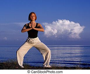 utanför, kvinna,  yoga, ung