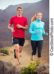 utanför, par, joggning, skugga, spring,  fitness,  Sport