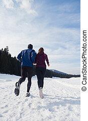 utanför, par, joggning, Snö