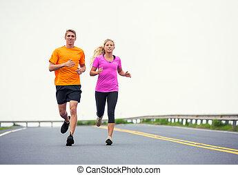 utanför, par, joggning, spring,  fitness,  Sport