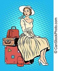 utas, leány, poggyász, elgáncsol, utazás