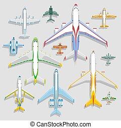 utas, vektor, menekülés, jet., hajóút, tető, ikonok, repülőgépek, szünidő, ábra, elszigetelt, háttér., repülőtér, repülőgép, turbina, kilátás, utazás, plane., szállít, pilóta