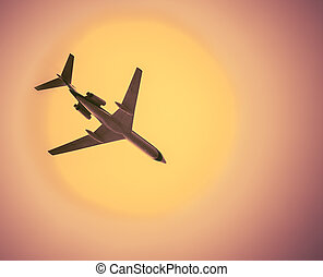 utasszállító repülőgép, alatt, felhőtlen, csípős, ég