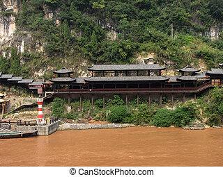 utazás, állás, folyó, kína, yangtze