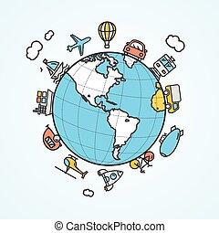 utazás, és, szállítás, concept., vektor