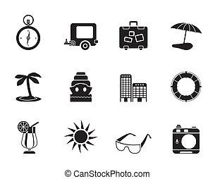 utazás, ünnep, elgáncsol, ikonok