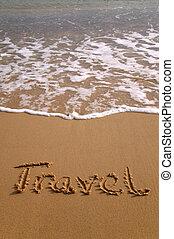 utazás, alatt, homok, függőleges