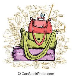 utazás, doddle, noha, poggyász