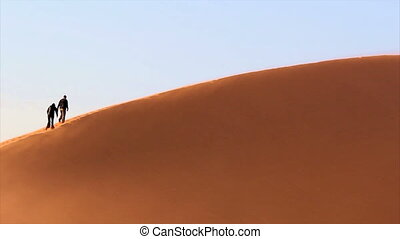 utazás, egy, homok homokbucka
