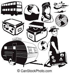 utazás, fekete, ikonok
