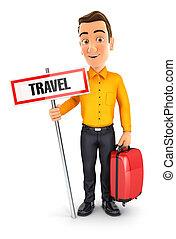 utazás, fogalom, 3, ember