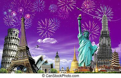 utazás, fogalom, fesztivál, világ