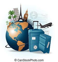utazás, fogalom, háttér