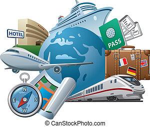 utazás, fogalom, ikon