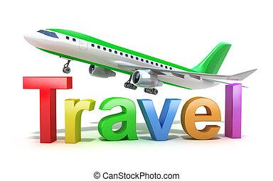 utazás, fogalom, szó, repülőgép