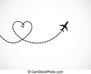 utazás, fogalom, szeret