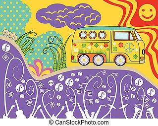 utazás, furgon, hippi