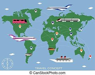 utazás, háttér, vektor