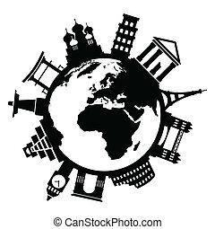 utazás, híres, nyelvemlékek, mindenfelé, világ