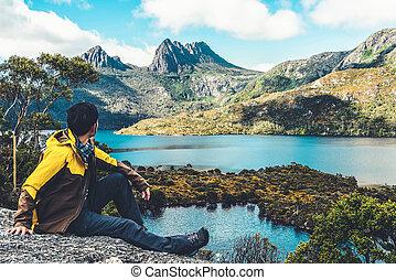 utazás, hegy, bölcső, tasmania, ausztrália, np