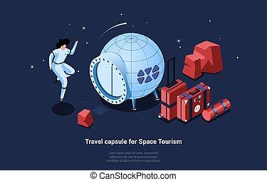 utazás, hely, mód, jármű, idegenforgalom, kapszula, utazó, zenemű, fogalmi, karikatúra, poggyász, vektor, ábra, 3, boldog, illeszt, űrhajó, isometric, űrhajós, writings.