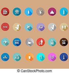 utazás icons, állhatatos, alatt, egy, lakás, style.