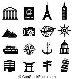 utazás idegenforgalom, ikonok