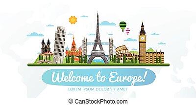 utazás idegenforgalom, vektor, illustration.
