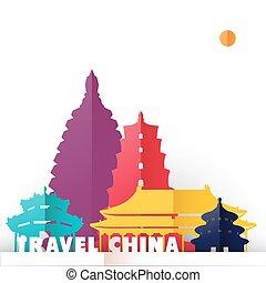 utazás, kína, világ, nyelvemlékek