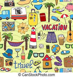 utazás, motívum, tropikus, seamless, szünidő