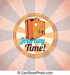 utazás, nyár, vektor, labels., bőrönd