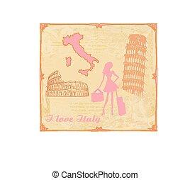 utazás, olaszország, leány