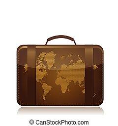 utazás, poggyász, ábra, fogalom