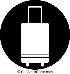 utazás, poggyász, bőrönd, ikon