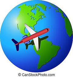 utazás, repülőgép