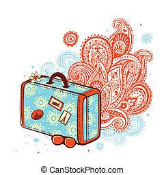 utazás, retro, bőrönd