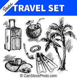 utazás, set., ünnep, skicc, ábra, kéz, húzott
