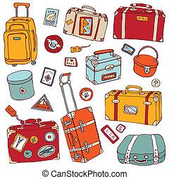 utazás, set., bőrönd, vektor, szüret, illustration.